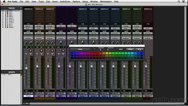 Applying the Color Palette and window arrangements: Pro Tools 12 Essential Training