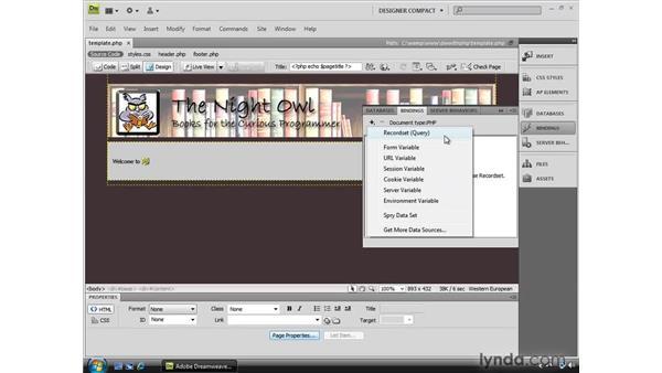 Using the Bindings and Server Behaviors panels: Dreamweaver CS4 Dynamic Development