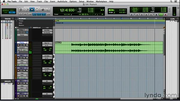 Using audio playback controls and scrolling: Pro Tools 12 Essential Training