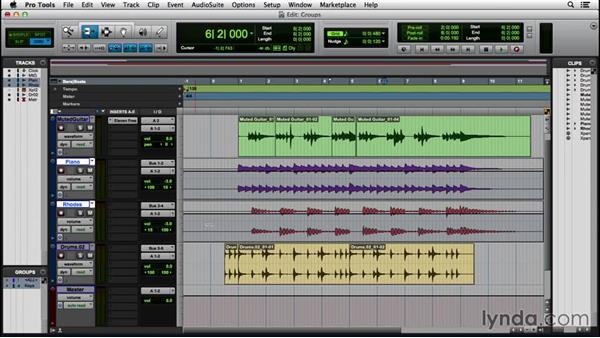 Creating a group: Pro Tools 12 Essential Training
