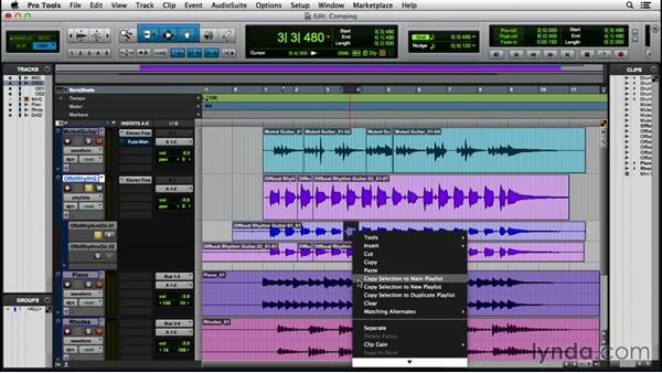 Building a comp track using playlists: Pro Tools 12 Essential Training