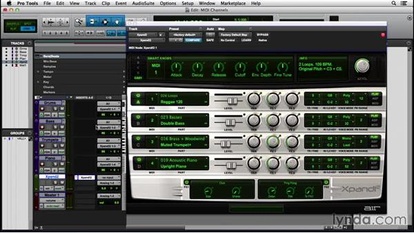 Recording multiple MIDI tracks with a shared virtual instrument: Pro Tools 12 Essential Training