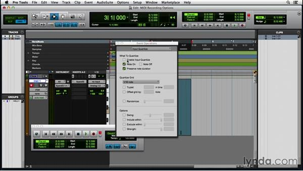 Setting MIDI recording options: Pro Tools 12 Essential Training (2016)