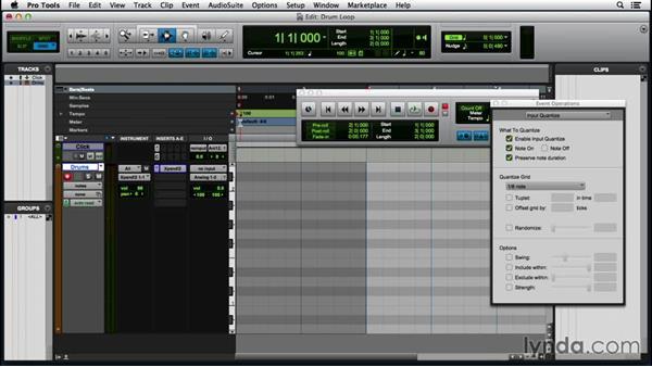 Building a drum loop with MIDI Merge: Pro Tools 12 Essential Training (2016)