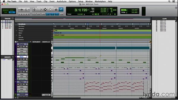 Editing MIDI data with the edit tools: Pro Tools 12 Essential Training