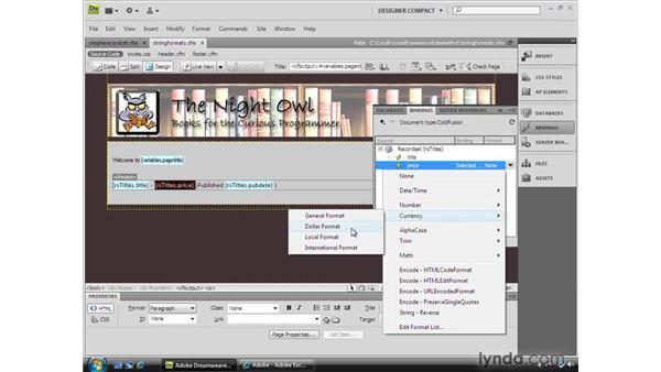 Applying string formats: Dreamweaver CS4 Dynamic Development