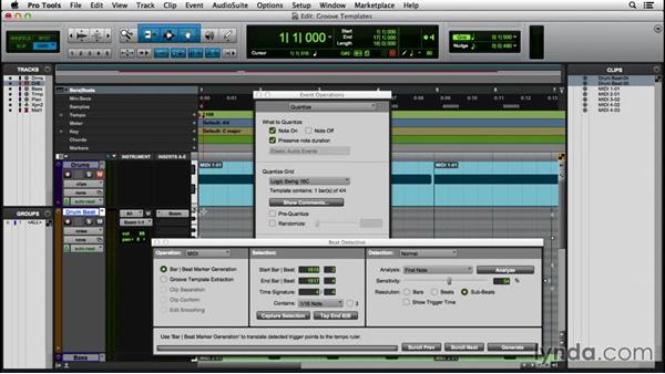 Using groove templates: Pro Tools 12 Essential Training