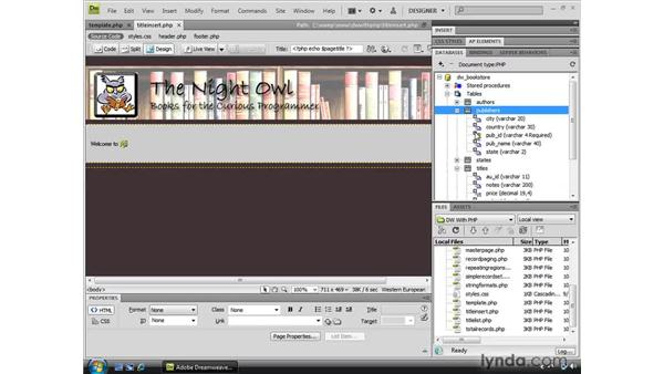 Preparing a record insert form with recordsets: Dreamweaver CS4 Dynamic Development