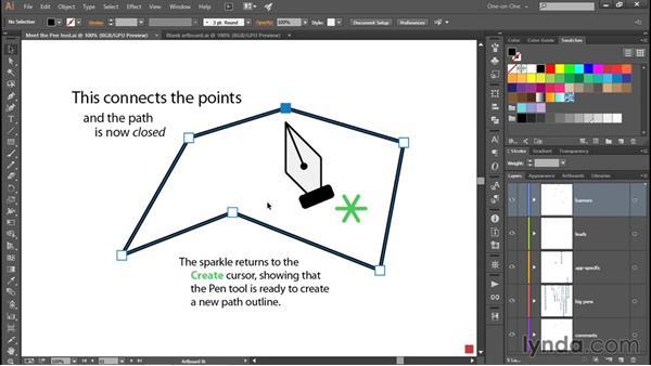 Extending an active path outline: Adobe Pen Tool: Fundamentals