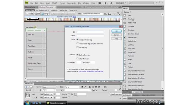 Creating a custom data entry form: Dreamweaver CS4 Dynamic Development