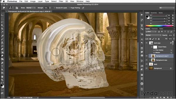 Using the Smudge tool: Building Transparency in Photoshop