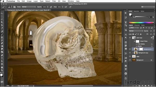 Masking both of the refraction layers: Building Transparency in Photoshop