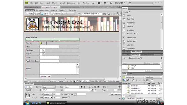 Displaying existing data in form controls: Dreamweaver CS4 Dynamic Development