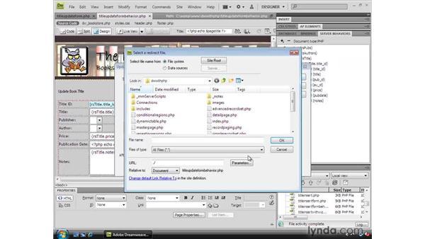 Using the Update Form behavior: Dreamweaver CS4 Dynamic Development