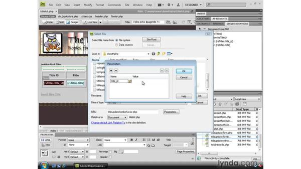 Creating list page links to edit and delete data: Dreamweaver CS4 Dynamic Development