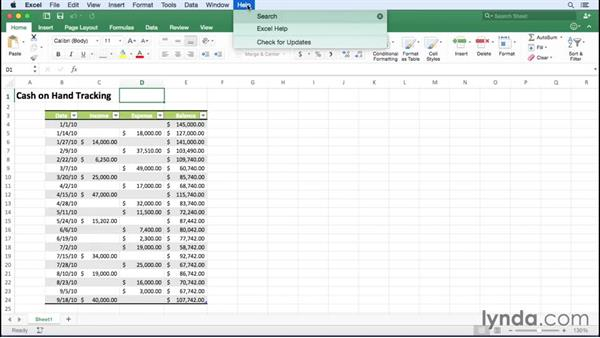 Getting help in Excel: Office 365 for Mac: Excel Essential Training