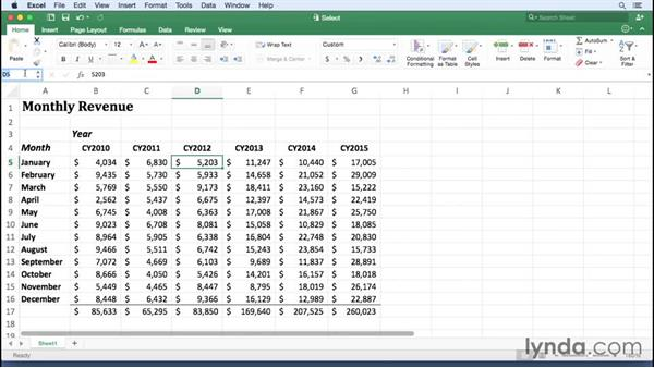 Selecting cells and groups of cells: Office 365 for Mac: Excel Essential Training