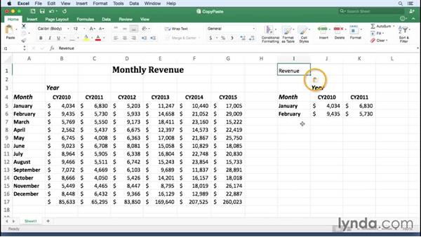 Copying and pasting cell data: Office 365 for Mac: Excel Essential Training