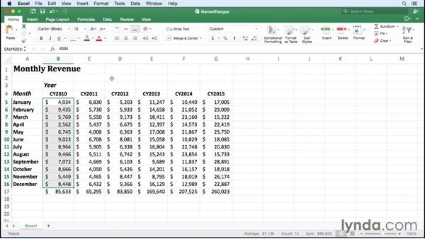 Creating named ranges: Office 365 for Mac: Excel Essential Training
