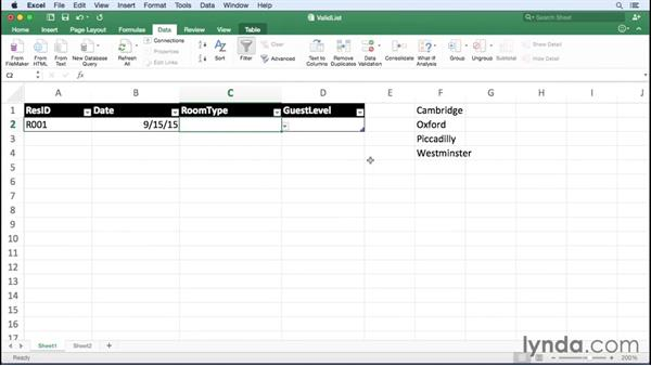 Using lists to limit data entered into a cell: Office 365 for Mac: Excel Essential Training