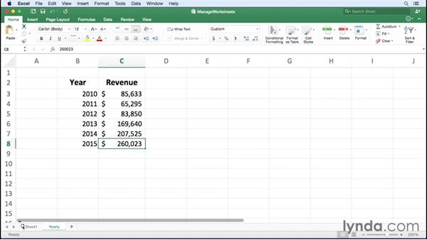 Managing worksheets: Office 365 for Mac: Excel Essential Training