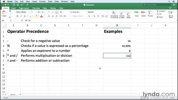 Introducing arithmetic operators: Office 365 for Mac: Excel Essential Training