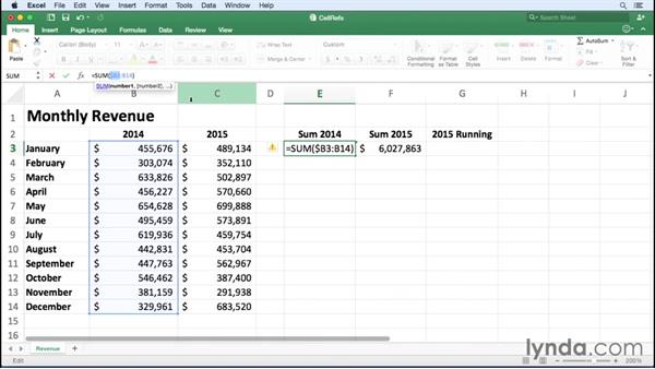 Using relative and absolute cell references: Office 365 for Mac: Excel Essential Training