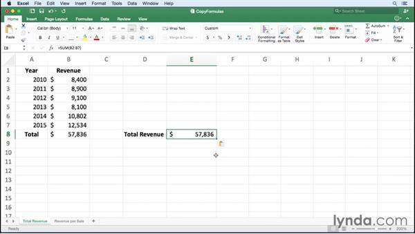 Controlling how Excel copies and pastes formulas: Office 365 for Mac: Excel Essential Training