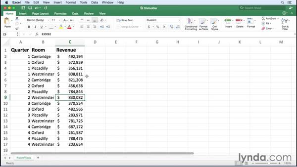 Summarizing data on the status bar: Office 365 for Mac: Excel Essential Training