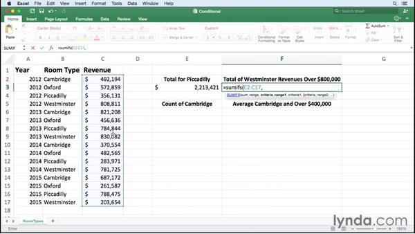 Summarizing data using SUMIF and other conditional functions: Office 365 for Mac: Excel Essential Training