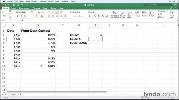Creating formulas to count cells: Office 365 for Mac: Excel Essential Training