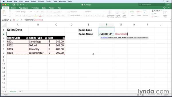 Finding data using VLOOKUP and HLOOKUP: Office 365 for Mac: Excel Essential Training