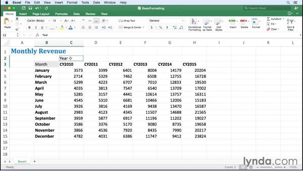Applying fonts, background colors, and borders: Office 365 for Mac: Excel Essential Training