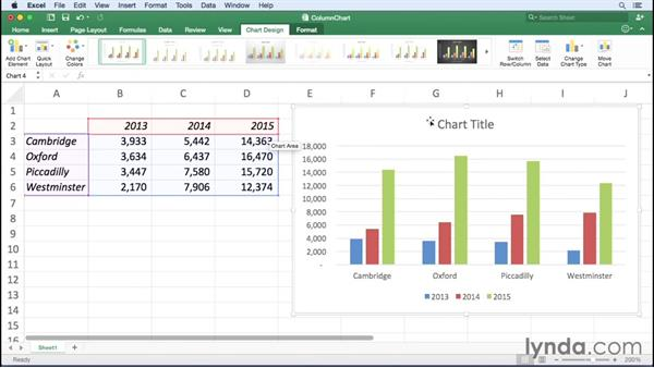 Creating bar and column charts: Office 365 for Mac: Excel Essential Training