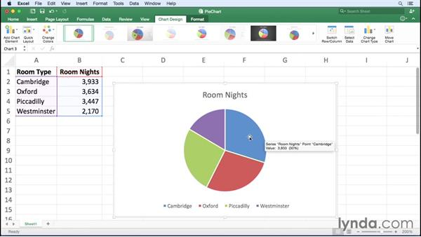 Creating pie charts: Office 365 for Mac: Excel Essential Training