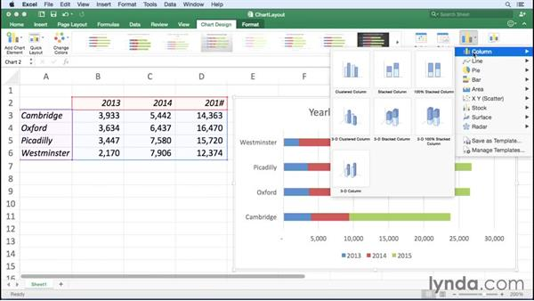 Changing chart types and layouts: Office 365 for Mac: Excel Essential Training