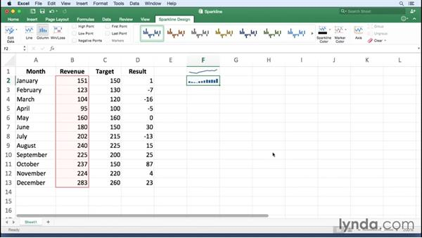 Creating sparkline charts: Office 365 for Mac: Excel Essential Training