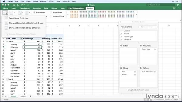 Managing subtotals and grand totals: Office 365 for Mac: Excel Essential Training