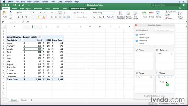 Summarizing more than one data field: Office 365 for Mac: Excel Essential Training