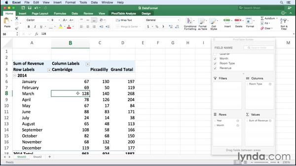 Changing the data field number format: Office 365 for Mac: Excel Essential Training