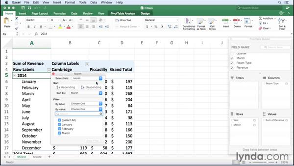 Filtering a PivotTable report: Office 365 for Mac: Excel Essential Training