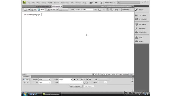 Logging out with a PHP server behavior: Dreamweaver CS4 Dynamic Development