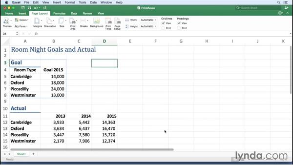 Setting and removing print areas: Office 365 for Mac: Excel Essential Training