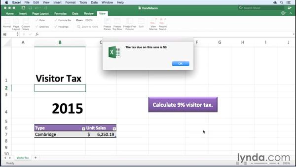 Running an existing macro: Office 365 for Mac: Excel Essential Training