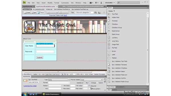 Validating form controls: Dreamweaver CS4 Dynamic Development