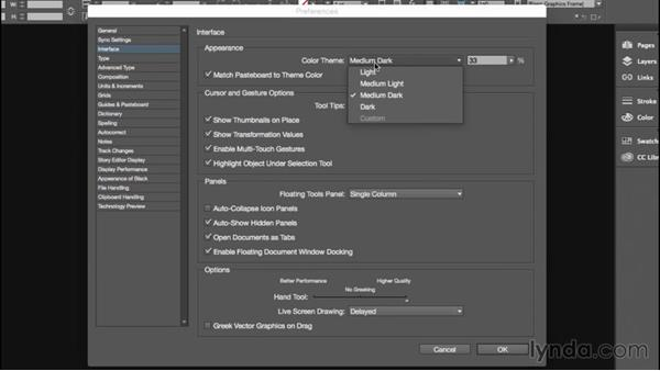 Adjusting the interface: Dark and light: Getting Started with InDesign