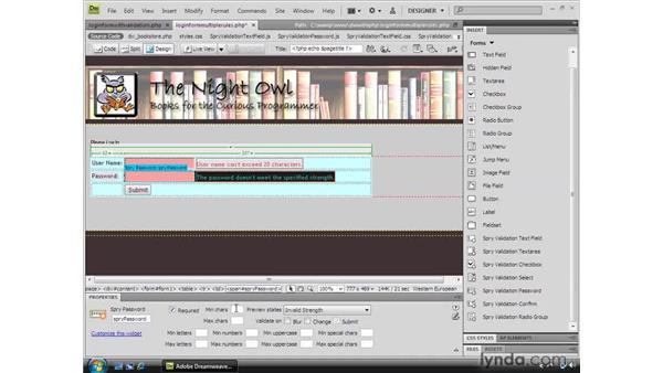 Laying out the validation user interface: Dreamweaver CS4 Dynamic Development