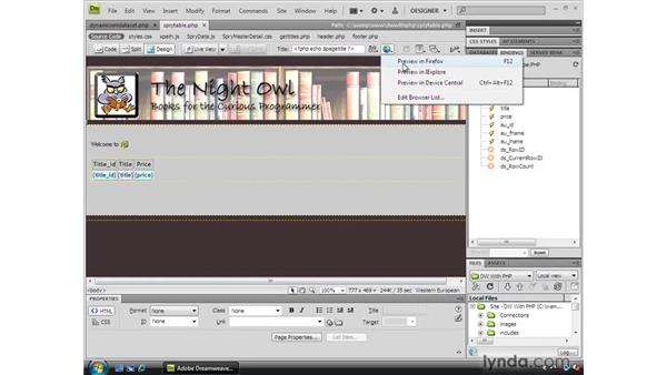Creating a Spry table: Dreamweaver CS4 Dynamic Development