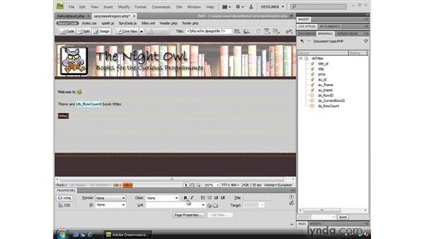 Creating a Spry repeating region: Dreamweaver CS4 Dynamic Development