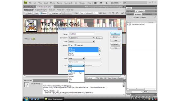 Using multiple record sets and displaying multiple dynamic tables: Dreamweaver CS4 Dynamic Development